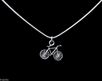 Silver necklace with bike charm