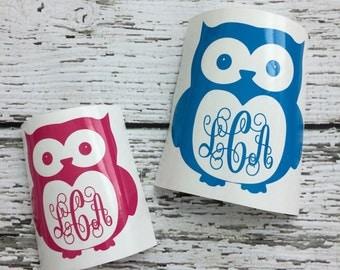 Owl Monogram Decal // Monogram Owl Decal // Owl Decal // Car Decal // Laptop Decal