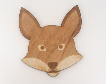 Wooden Fox Badge - Fox brooch - Animal Badge Cute Brooch - Wood  - Woodland Animal - Animal Brooch