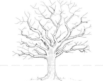 PRINTABLE fingerprint tree guestbook || tree illustration thumbprints wedding, baby shower, birthday, anniversary || digital file only