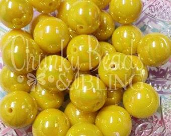 10pc. 20mm Yellow AB Iridescent Beads
