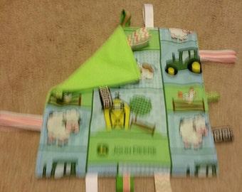 John deer-teething toy- sensory toy- security blanket- crinkle toy- baby shower gift