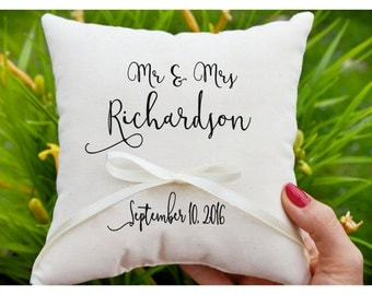 Mr & Mrs pillow, Personalized Ring bearer pillow, Wedding ring pillow , wedding pillow ,ring holder , ring bearer pillow,custom pillow (R49)