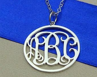 Circle monogram necklace, custom monogram pendnat, sterling silver monogram necklace, personalized monogram necklace, 3 initial monogram