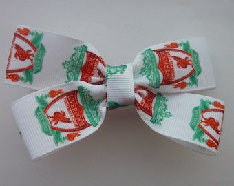 Liverpool Football Club hair bow/football hair bow/Liverpool bow/sports hair bow/footie hair bow/footie bow/liverpool hair bow/hair bows