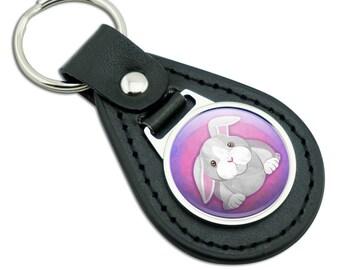 Bunny Rabbit Black Leather Metal Keychain Key Ring