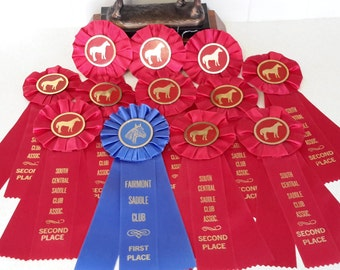 Vintage Horse Show Ribbons in red and blue.  Like New Condition. 1990