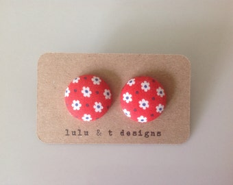 Retro flower fabric covered button earrings pair, flower fabric stud earrings