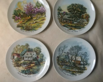 Currier and Ives Four Season plate set