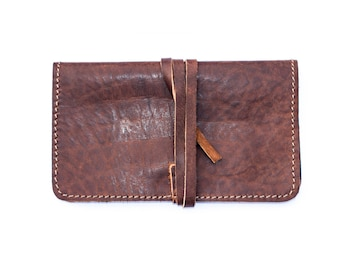 Hand Made Grained Coco Leather Tobacco Pouch | Tobacco Wallet (Leather String Closure)