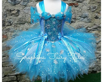 Blue Princess Snowflake Tutu Dress - Lined Blue, White & Silver Glitter Winter Dress. Handmade by Seraphina Fairy Tales.Short Length.