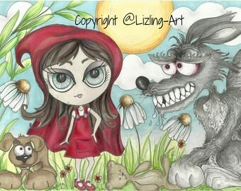 Little Red Riding Hood Art Illustration Print