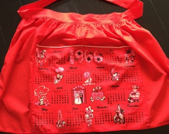 1966 Vintage New Never Used Red Half Calendar Apron Cotton