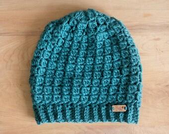 Slouchy crochet beanie teal