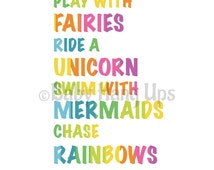 Fairy prints, unicorn prints, mermaid prints, rainbow prints, nursery prints, baby prints