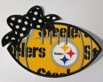 Ready to Ship in 3-5 Business Days - Football in Team Colors - Iron On or Sew On Embroidered Applique