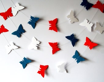 Paper butterfly garland, 5 feet, READY TO SHIP in 1-2 days, Party garland, Home decor, Party decor, 4th of July party decorations