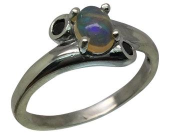 14k Ethiopian Opal & Onyx Ring, W-Y-R, Free Sizing