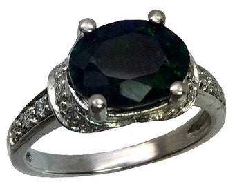 14k Black Opal & Diamonds Ring, Free Sizing