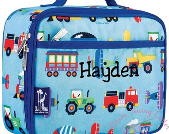 Personalized Lunch Box. Airplane, Trucks and Trains Collection. Monogrammed Lunchbox for Boys. Planes Lunchbox. 818