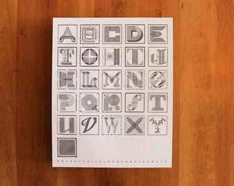 """Drop Cap Alphabet Screenprint, 16x20"""""""