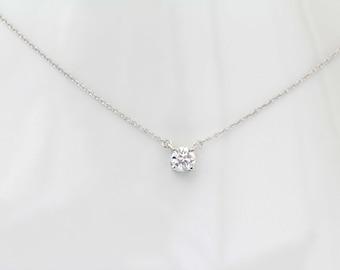 14K White Gold Round Soliatire Diamond Necklace, Diamond Necklace Pendant, 0.5 Ct Round Cut, Gold Necklace