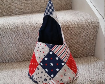 red white and blue, nautical themed conical peg bag