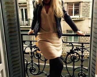 Short skirt in pink jacquard and Golden/mini skirt
