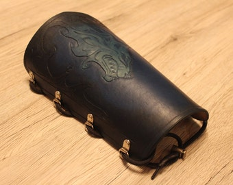 Handmade leather archery bracer / cuff / arm guard hand tooled