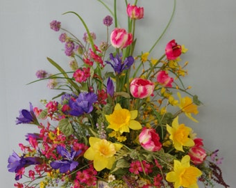 A Touch of Spring Silk Flower Arrangement withTulips, Daffodils, Iris, Wildflowers in metal container