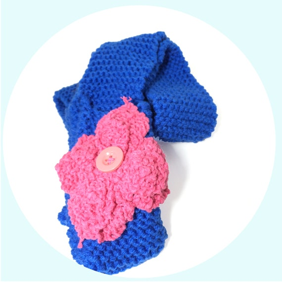 Knitting Patterns For Scarves With Pockets : Bright Blue Knitted Scarf With Pockets Long Knit Scarf With