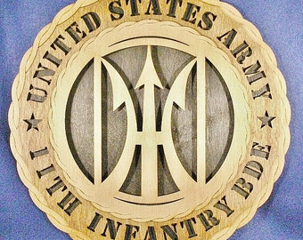 "Custom 12"" Wood US Army 11th Infantry Bde - Wall Tribute - FREE SHIPPING"