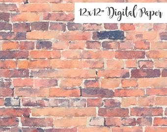 Digital Paper, Brick Texture, 12x12, Watercolor Digital Background, Commercial Use ok