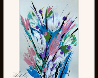 "SALE, Original Flower Painting, Abstract Painting, Contemporary Art, Modern Painting on Paper 11""x15"""