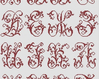 Cyrillic Alphabet Monogram Floral Cross Stitch Pattern Vintage Style Cross Stitch Chart PDF Pattern Downloadable PDF Cross Stitch Download
