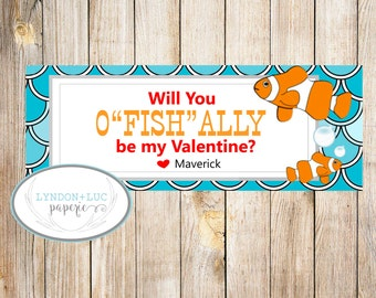 "Will You O'FISH""ALLY"" Be My Valentine?  Treat Bag Tags"