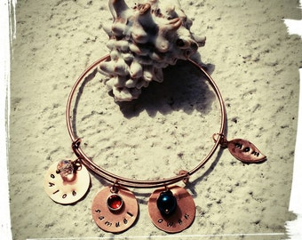 Mothers Bangle -Aged Copper Charm Bangle with Your choice of Birthstone - Swarovski Crystal Drops/Crystals/Czech Beads- Copper Name Charms