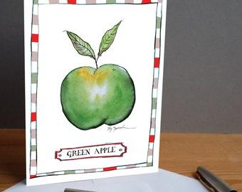 green apple -  fun greeting card