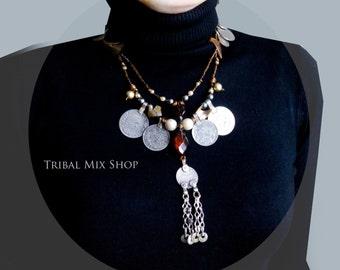 Tribal Assemblage Necklace kuchi handmade vintage