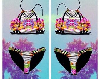 Reworked funky print bikini