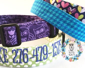 Personalized Dog Collar, Embroidered Dog Collar, Dog Collar, Dog Leash, Matching Leash, Flower Dog Collar, dog tag