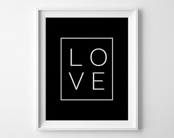 Large Printable Art, Love Printable, Love Prints, Digital Poster, Love Wall Art, Black & White Prints, 5x7 Love Print