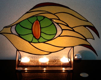 Stained glass panel  Eye of the Dragon with natural Agate