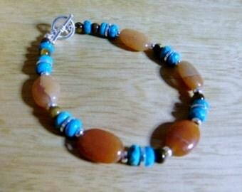Carnelian, turquoise, tiger eye bracelet