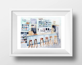 Wall Art Watercolor Luke's Diner Interior Print,Gilmore girls,Lorelai and Rory,Tv Show Poster,Luke's Diner,Gilmores,WatercoloCafe,Luke Danes