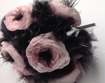 Pink and black contemporary bridal posy