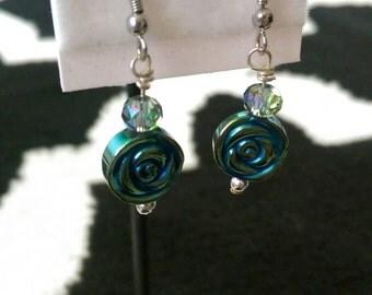 Teal flower earrings