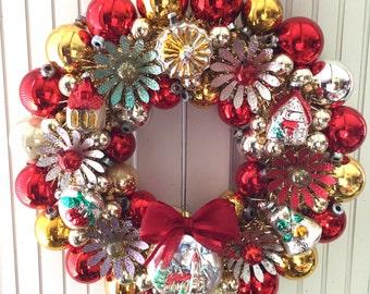 Flowers & Towers Vintage Christmas Ornament Wreath