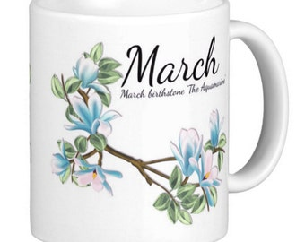Birthday, Birthstone March, Aquamarine Gift Mug