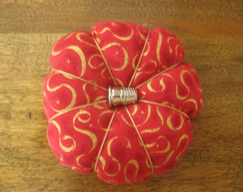 Pumpkin Style Red Pincushion